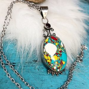 """Sterling Turquoise Pendant w/Garnet Necklace 18"""""""